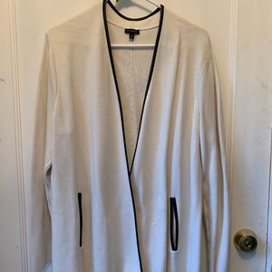 Talbots Winter White Open Jacket faux leather trim
